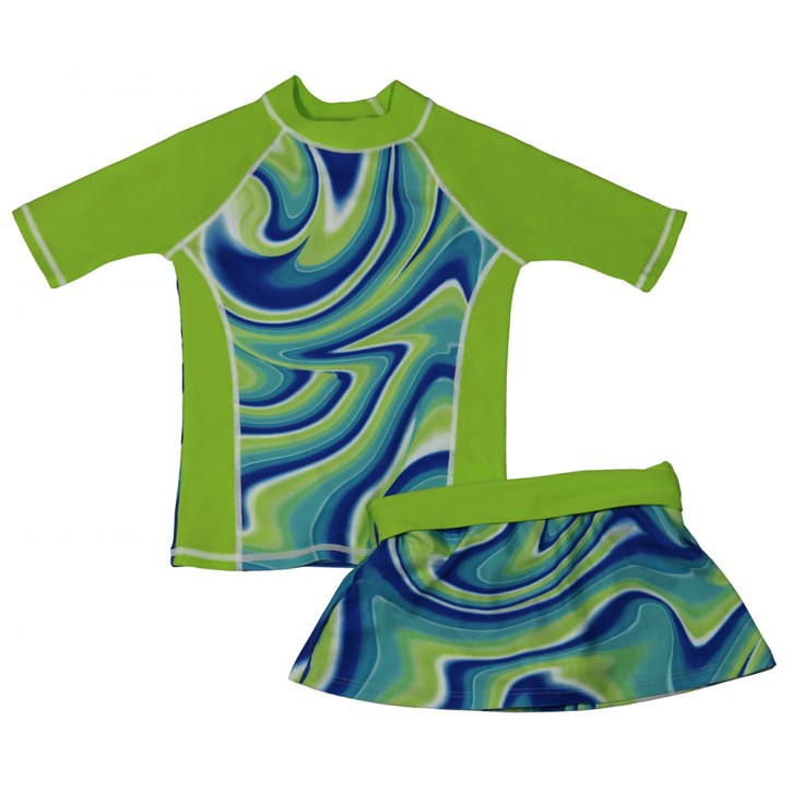 Green Swirl Shirt and Skirt Set